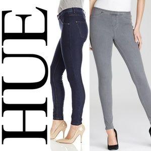 HUE Grey and Dark Wash Denim Legging Bundle